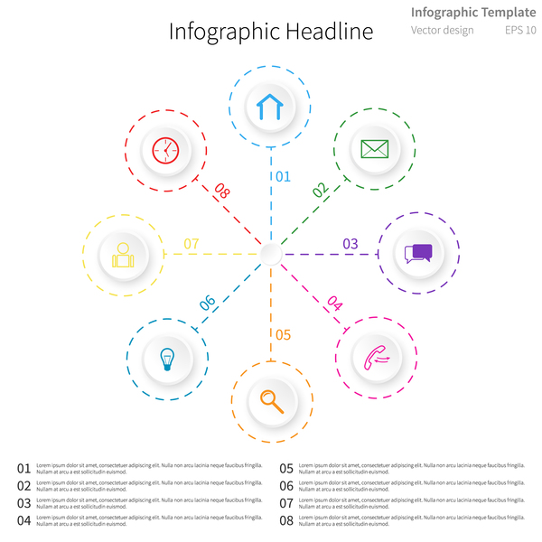 White infographic template with circle vectors design 06