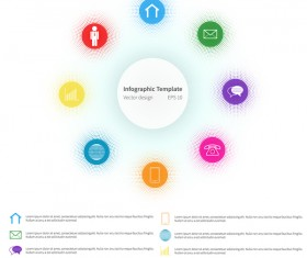 White infographic template with circle vectors design 07