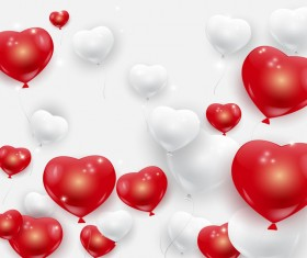 White red hearts balloons background vector