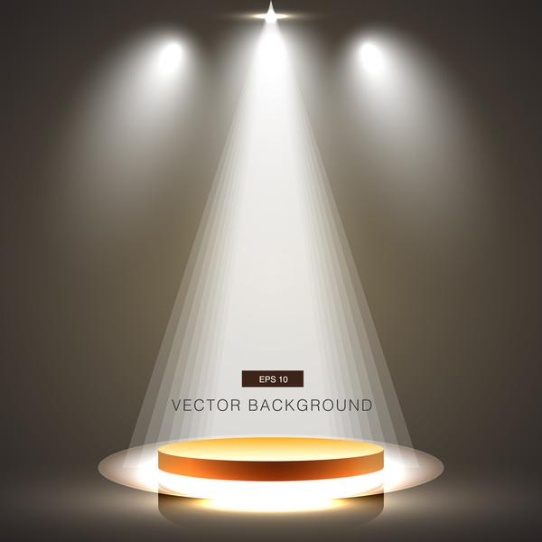 White Studio Background With Podium: White Spotlight With Studio Background Vector 03