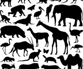 Wild animal silhouette set vector 03