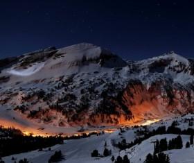 Winter skiing at night Stock Photo
