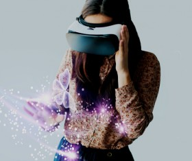 Woman with glasses of virtual reality Stock Photo 01