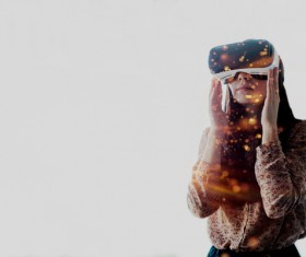 Woman with glasses of virtual reality Stock Photo 03