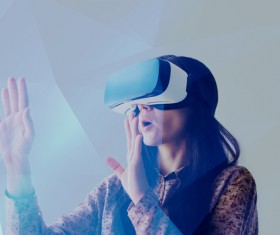 Woman with glasses of virtual reality Stock Photo 04
