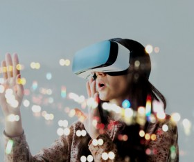Woman with glasses of virtual reality Stock Photo 05