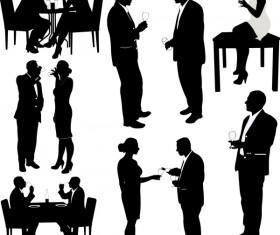 Women and men drink wine silhouette vector