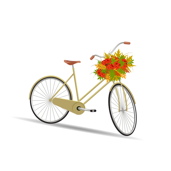 Yellow bicycle with flower basket vector