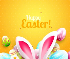 Yellow easter cards vector