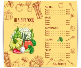 Yellow restaurant menu with vegetables vector