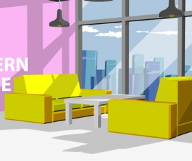 Yellow sofa with modern office vector 01