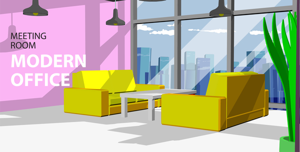 Yellow sofa with modern office vector 01 free download
