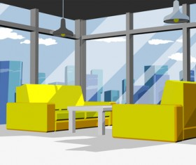 Yellow sofa with modern office vector 02