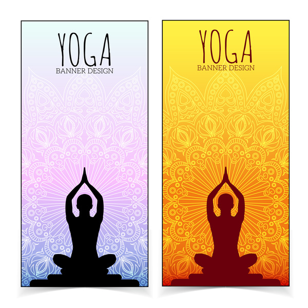 Yoga Design Banners Vector