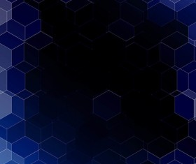 hexagon with dark blue gradient background vector