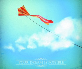 kite with sky and cloud background vector