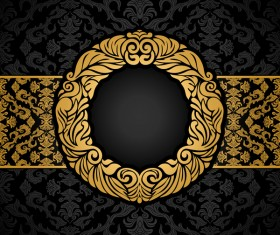 luxury black and gold vintage frame vector