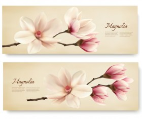 Spring nature banners with white magnolia vector