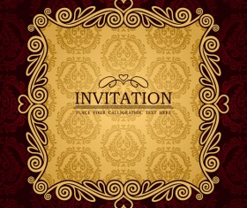 vintage invitation red card vector