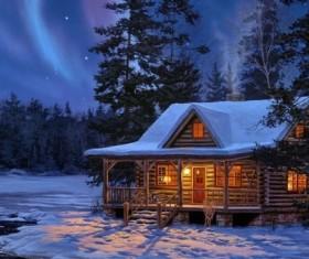 winter evening Stock Photo 05