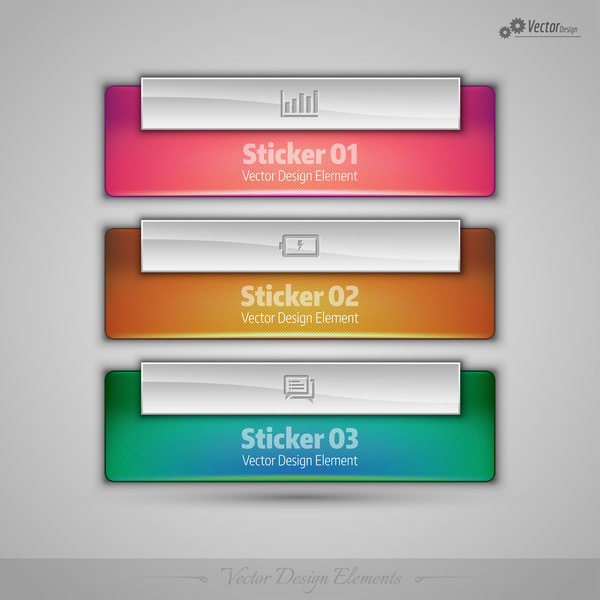 3 Kind glass texture banners vector