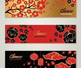 3 chinese styles banner vector