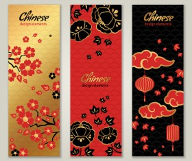 3 chinese styles vertical banner vector