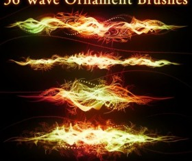 36 Kind Wave Ornament Photoshop Brushes