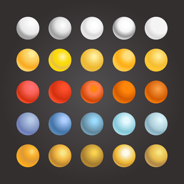 3D colored sphere icons vector