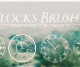 4 Clock Photoshop Brushes