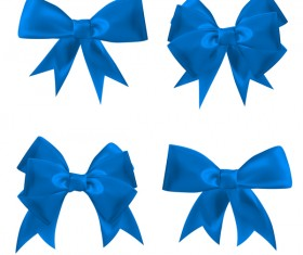 4 blue ribbon bows vector