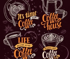 4 retro coffee logos hand drawn vector