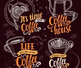 4 retro coffee logos hand drawn vector