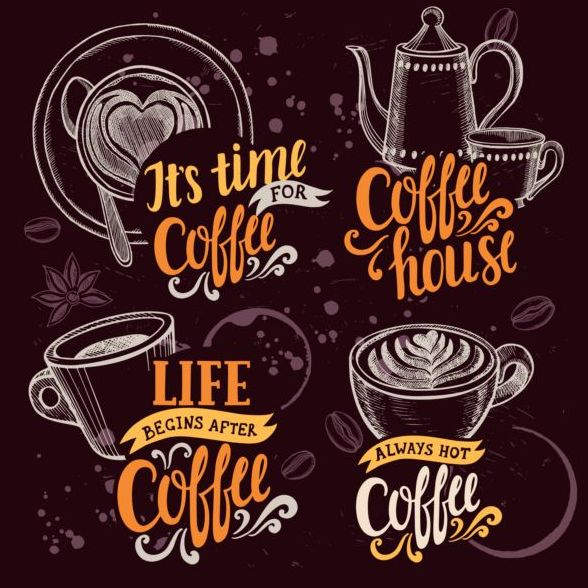 4 retro coffee logos hand drawn vector free download