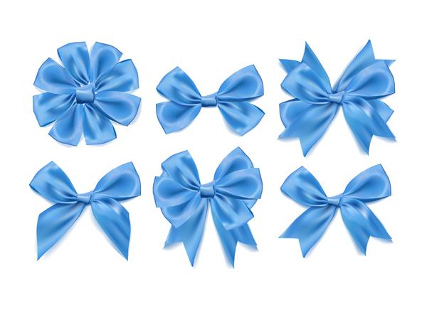 6 Kind blue ribbon bow vector set