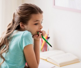 A little girl in a daze Stock Photo