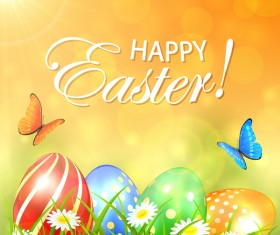 Abstract spring background with colored Easter eggs vector