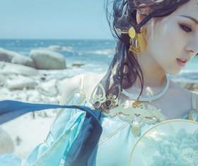 Asian costume dress up woman Stock Photo