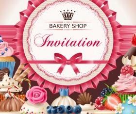 Bakery shop invitation card vector