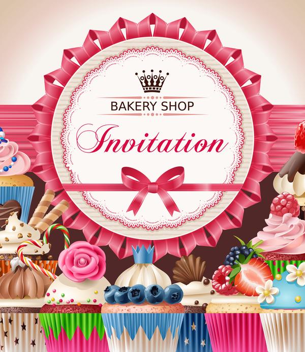 Bakery shop invitation card vector free download bakery shop invitation card vector stopboris Choice Image