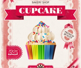 Bakery shop with cupcakes poster vintage vector 01