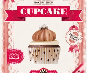 Bakery shop with cupcakes poster vintage vector 02