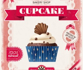 Bakery shop with cupcakes poster vintage vector 03