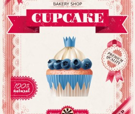 Bakery shop with cupcakes poster vintage vector 04