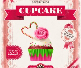 Bakery shop with cupcakes poster vintage vector 06