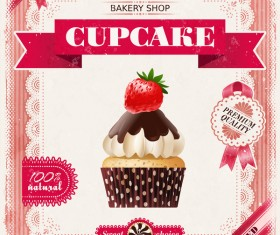 Bakery shop with cupcakes poster vintage vector 07
