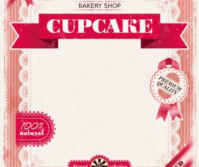 Bakery shop with cupcakes poster vintage vector 08