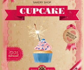 Bakery shop with cupcakes poster vintage vector 09