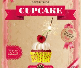 Bakery shop with cupcakes poster vintage vector 10