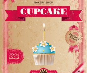 Bakery shop with cupcakes poster vintage vector 11